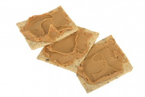 Peanut butter on crackers