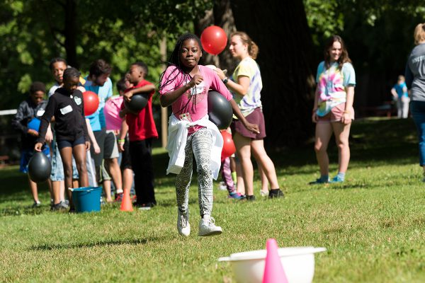 Campers participate in relays