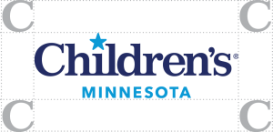 Children's MN logo with non-interference visual example showing the capital C clear space