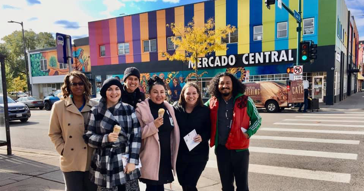 Group of Children's Minnesota employees outside of Mercado Central