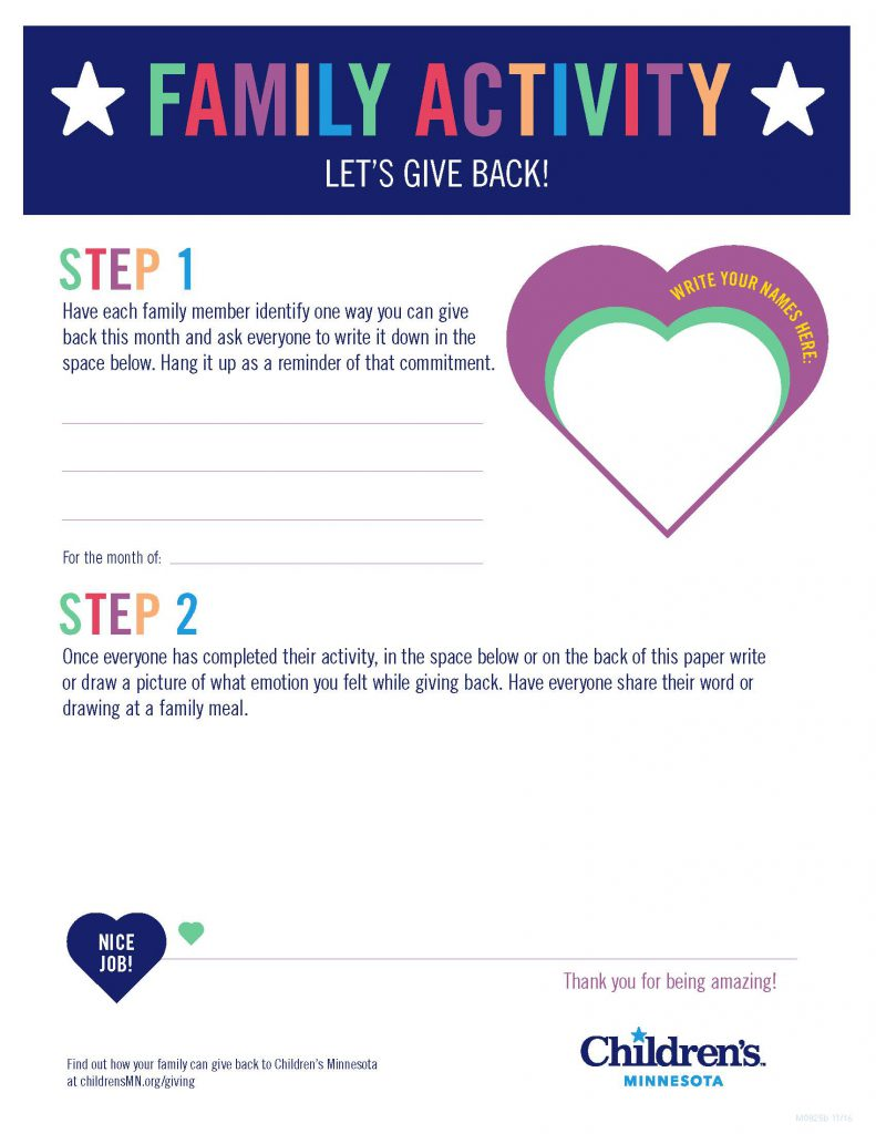 Family Activity Let's Give Back! Step 1 and Step 2 tasks to complete, heart illustration