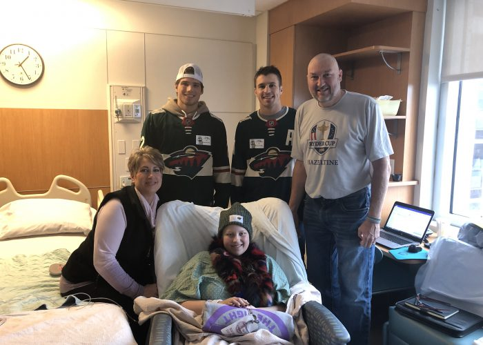 Minnesota Wild players visiting patients and families