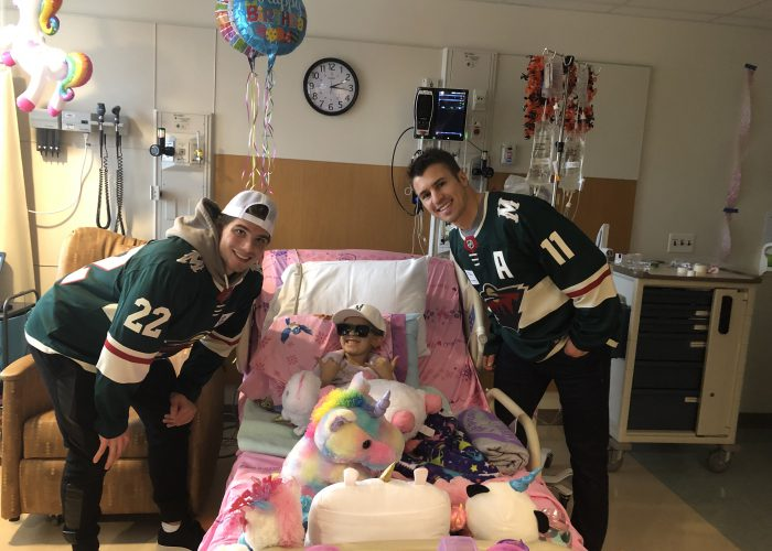 Minnesota Wild players visiting patients and families at Children's Minnesota