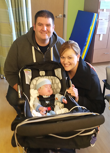 Marshall's parents take him home from the NICU for the first time