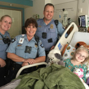 Officers visiting a patient