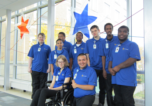 A group of project search interns pose in the Minneapolis hospital's sky way