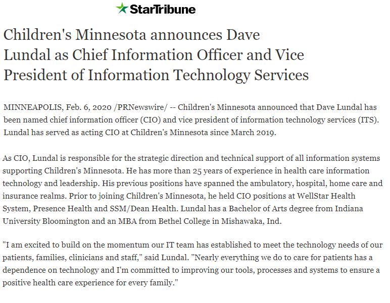 Dave Lundal to start role as Chief Information Officer and vice president of information technology services at Children's Minnesota