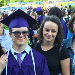 Michael and his family at his high school graduation.
