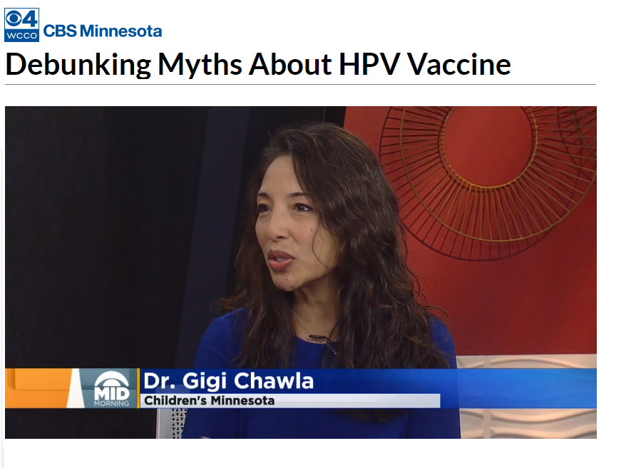Dr. Gigi Chawla appears on WCCO to talk about the HPV vaccine