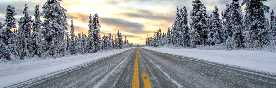 winter, road, sunset picture, evergreen trees, snow